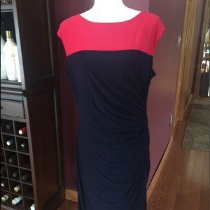 Chaps ladies dress, size XL, blue/red.